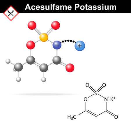 carcinogenic: Acesulfame potassium - artificial sweetener, chemical model and molecular structure, E950 food additive, 2d and 3d illustration