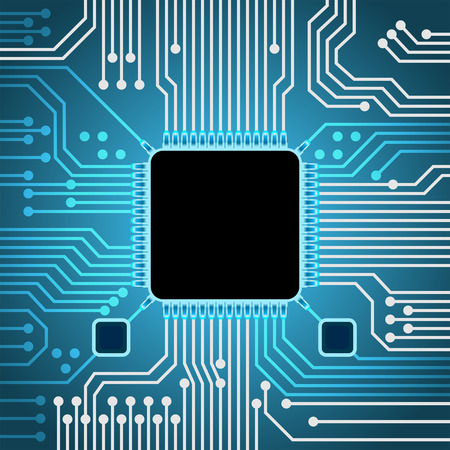 processor: Computer technology background, processor board concept with place for text, 2d