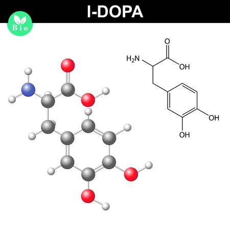 chemical structure: L-dopa neurotransmitter precursor chemical structure
