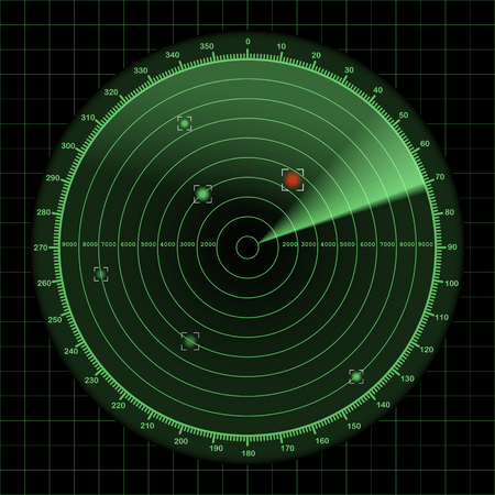 detection: Radar or sonar screen, detection monitor background with grid, 2d illustration on dark background