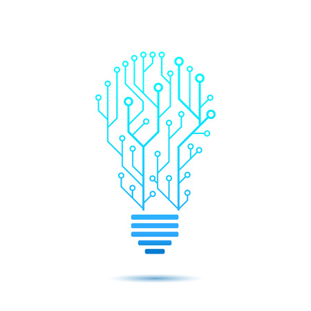 idea generation: Lamp formed by chip connectors, idea generation icon, 2d vector icon, illustration isolated on white background. Illustration