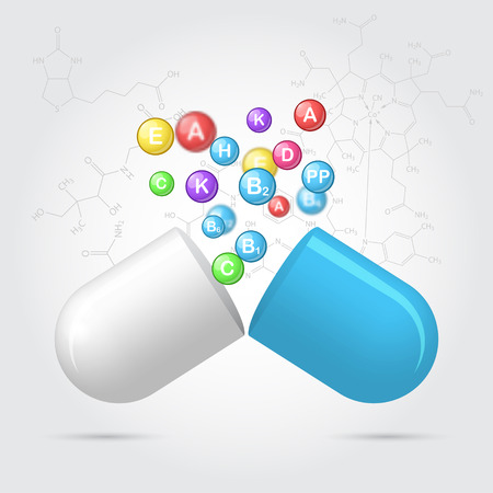 ascorbic: Vitamins are emitted from pharmaceutical capsules, concept of disease prevention, 3d vector illustration on scientific background.