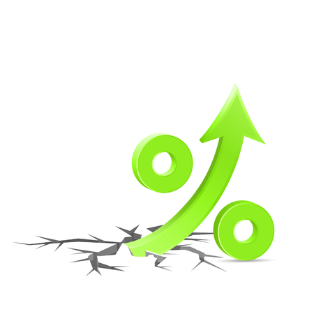 Percent up sign breaks through the surface, high rates concept icon, 3d vector illustration, on white background.