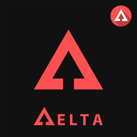 delta: Delta letter icon, 2d vector illustration on black background Illustration