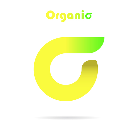 organic letter, eco concept icon, 2d vector, icon on white background