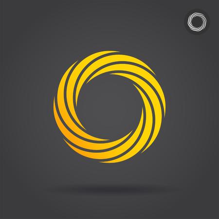 segmented: Gold segmented circle, single icon, 2d vector illustration on dark background