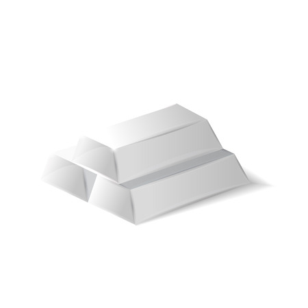 silver ingots: High quality silver ingots, 3d realistic vector illustration, isolated on white background