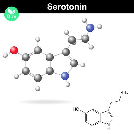 amine: Serotonin molecular structure, 3d vector illustration, isolated on white background