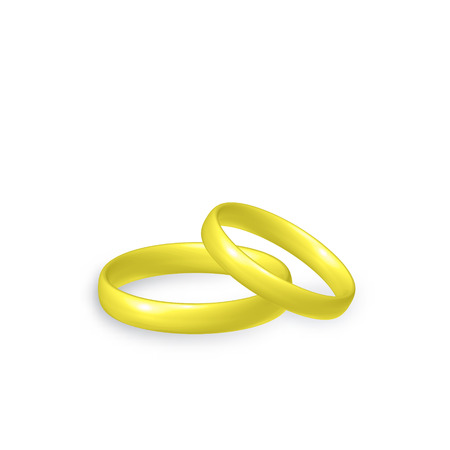 Gold wedding rings of bride and groom, marriage concept, 3d vector illustration, isolated on white background