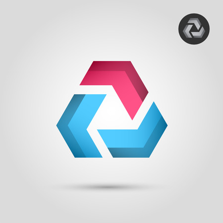 delta: Delta letter with blue and red segments, union concept icon, 2d vector icon on gradient background