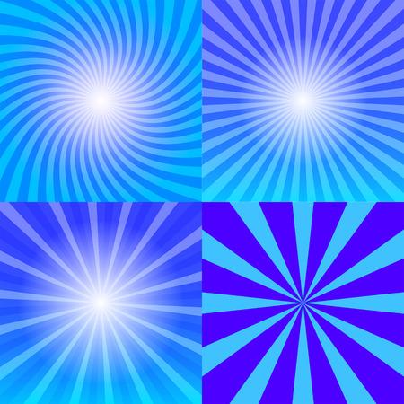 Sunray background set, four variants of blue sun rays, 2d vector illustration