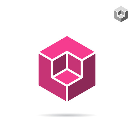 cubic: Isometric cubic shape, 3d vector cube, isolated on white background