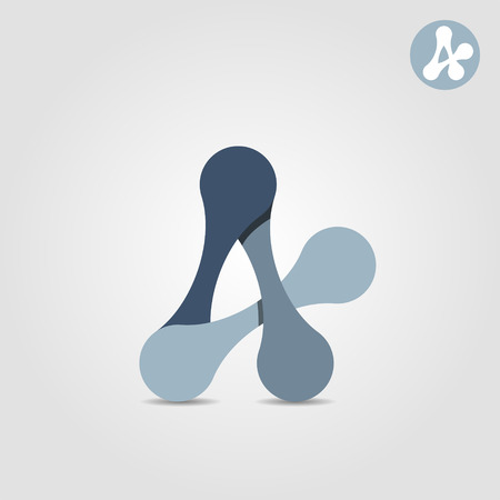 ductile: A letter abstract shape, connection concept, 2d vector illustration on grey background