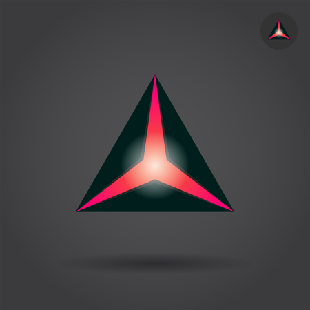 casement: Black triangle with red hole, delta concept sign, 2d vector illustration on dark background