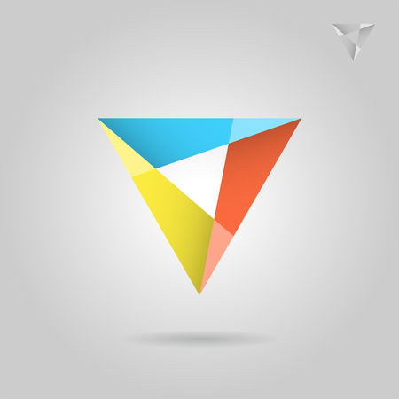 Mosaic triangle sign, 2d vector illustration on grey background