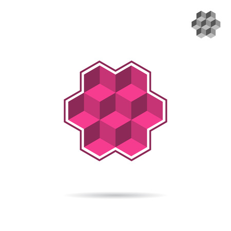 Isometric wall segment, cubic, 3d isometric vector illustration, isolated on white background