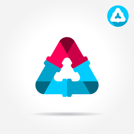 Delta letter sign, water pipe connection concept, 2d vector icon