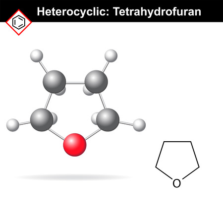 structural formula: Tetrahydrofuran molecule - structural chemical formula and molecular structure, 2d and 3d vector illustration, scientific icon, isolated on white background Illustration