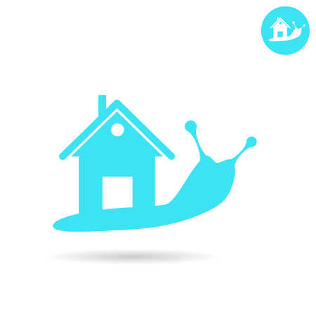 Snail with human house on the back, real estate concept, 2d vector icon, illustration isolated on white background Ilustrace