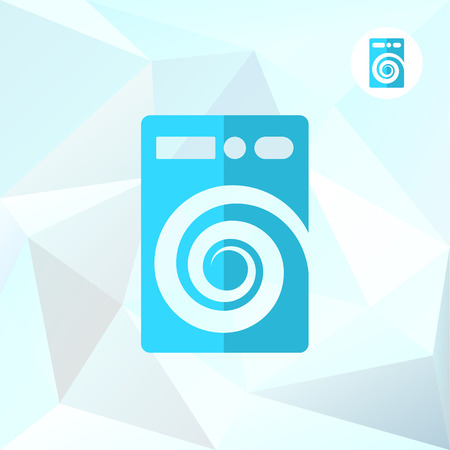 bleached: Washer machine on mosaic triangular background, cleaning and purification concept, 2d vector illustration