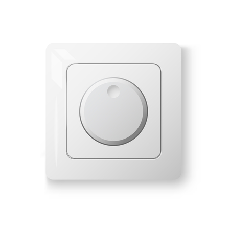 dimmer: Dimmer power switch, realistic 3d illustration, white color, 3d vector object on white wall, isolated device Illustration