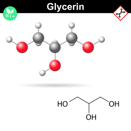 Glycerol chemical formula and model, sugar alcohol structure, 2d and 3d vector illustration, isolated on white background