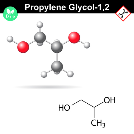 glycol: Propylene glycol 1,2 organic chemical agent, 2d and 3d vector illustration, isolated on white background