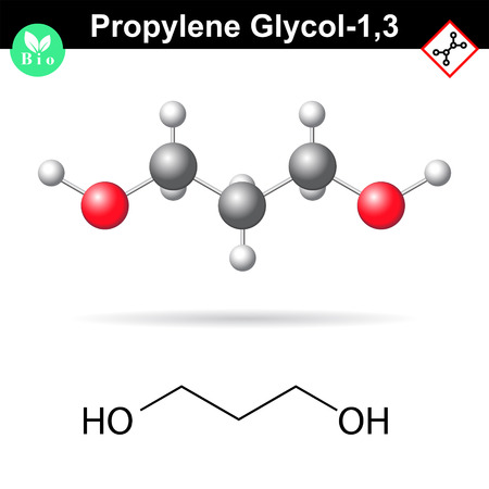 glycol: Propylene glycol 1,3 organic chemical, 2d and 3d vector illustration on molecular structure, isolated on white background