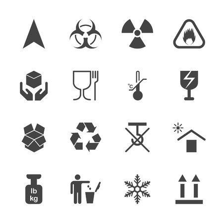 volatile: Products info for transportation icon set, icons on containers, 2d vector icons without pads on white background