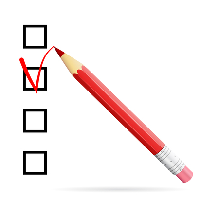 red pencil: Red pencil drawing checkmark in checkbox, election ballot concept, 3d vector illustration, realistic 3d object isolated on white background