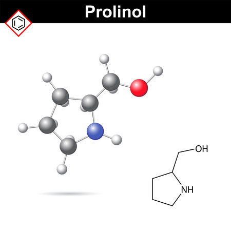 proline: Proninol amino alcohol chemical structure, chiral organic synthesis compound, 2d and 3d vector illustration, isolated on white background,