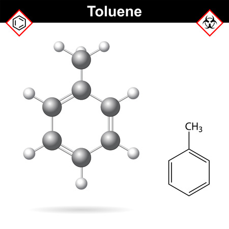 solvent: Toluene organic solvent chemical structure, 2d and 3d vector illustration, isolated on white background,