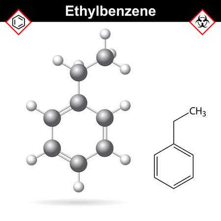 solvent: Ethylbenzene organic solvent molecular structure, 2d and 3d vector illustration, isolated on white background, Illustration