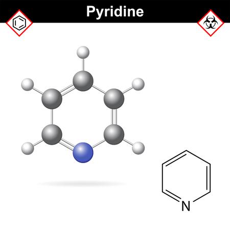 Pyridine structure de solvant organique moléculaire, 2d et 3d illustration vectorielle, isolé sur fond blanc,