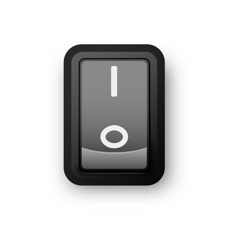 Black pc electric switch, on position, 3d realistic vector object, illustration of electrical equipment,