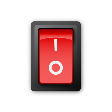 switch off: Red pc electric switch, off position, 3d realistic vector object, illustration of electrical equipment on white background, Illustration