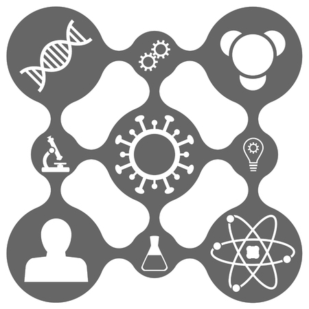 Science icon set, 2d vector icons on dark grid with smooth connections, 9 icons,
