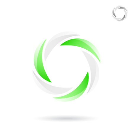 Bright segmented circle with green and white sections, rotation concept, 2d vector illustration, icon on white background, Illustration