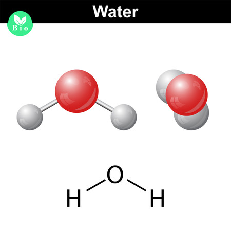 Water natural inorganic compound, 2d and 3d vector illustration of water molecular structure, isolated on white background,