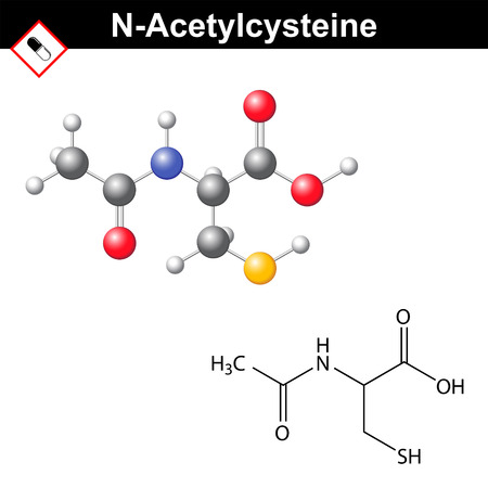 Acetylcystein schleimlösende, schleimlösend, entgiftend medizinische Droge, 2d und 3d Vektor-Illustration der Molekülformel, isoliert auf weißem Hintergrund, Standard-Bild - 64746338