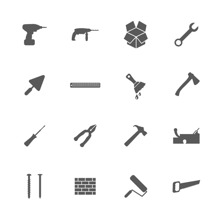 habiliment: Home repair and renovation icons set, building and construction concept, 16 signs, 2d vector illustration of icons Illustration