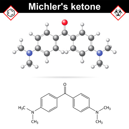 intermediate: Michlers ketone organic chemical compound, 2d and 3d vector illustration of molecular structure, isolated on white background Illustration