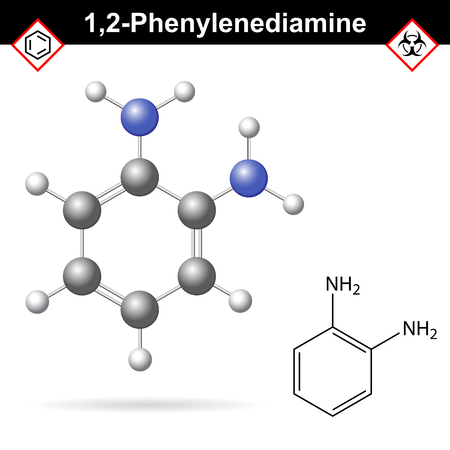 amine: Ortho Phenylenediamine chemical structure, 2d and 3d vector illustration of chemical structure, isolated on white background, eps 10