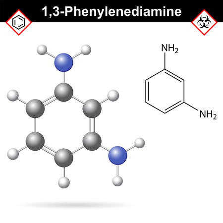 amine: Meta Phenylenediamine moelcular structure, 2d and 3d vector illustration of molecular structure, isolated on white background