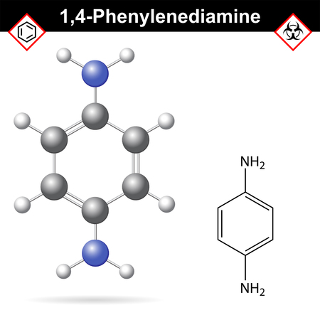 amine: Para Phenylenediamine chemical structure, 2d and 3d vector illustration of chemical structure, isolated on white background