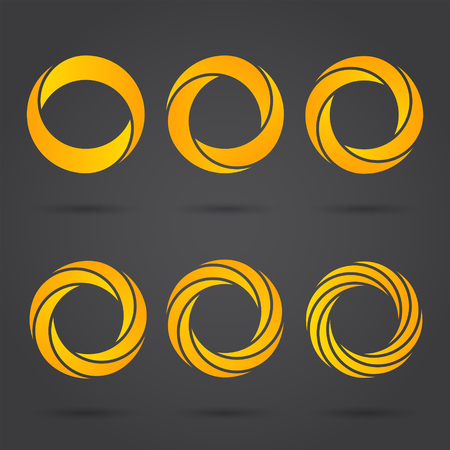 segmented: Golden zeros segmented logo signs on dark background, 2d vector illustration, eps 10