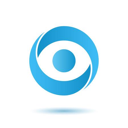 열린 된 눈 로고, 미디어 기관 개념, 2d 벡터 로고 그림, 흰색 배경에 고립 된