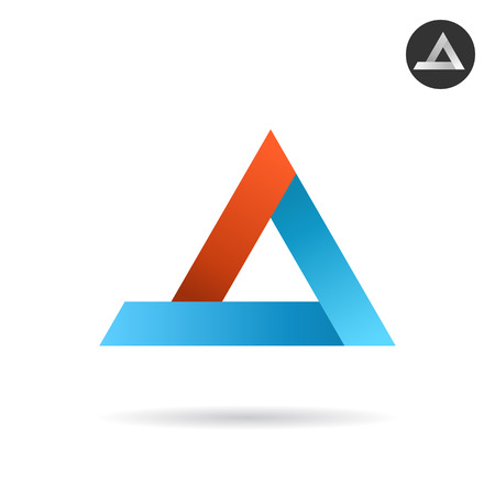 delta: Delta arrow logo in ribbon style, red and blue colours, 2d vector logo illustration, isolated on white background