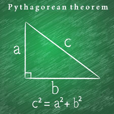 Triangle on the blackboard, Pythagorean theorem illustration, 2d vector educational illustration