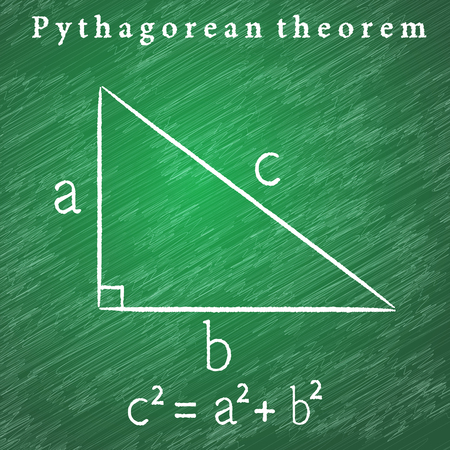 teorema: Triangle on the blackboard, Pythagorean theorem illustration, 2d vector educational illustration